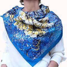 Designer Square Silk Scarves Designer Square Silk Scarf In Bright Blue And Yellow Florals Based On Hand Painted Drawing Unique Art Painting Fashion Shawl For Women Gift For