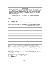 Lease Violation Form Notice To Correct Violations Of Lease Agreement