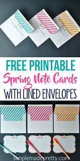 Free Printable Spring Note Cards With Lined Envelopes