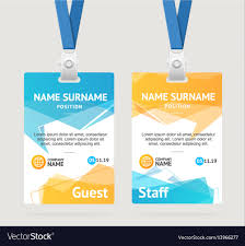 Free Id Badge Template Id Card Template Plastic Badge Royalty Free Vector Image