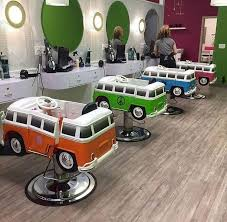 amazingly cute vw camper chairs in a kids hair salon