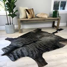 details about real blue wildebeest skin rug hide african antelope deer cowhide zebra like