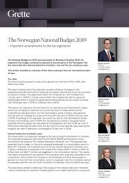 Attorney General Tax Chart 2019 The Norwegian National Budget 2019 Important Amendments To