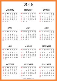 Free Download Yearly Printable Calendar 2018 In Pdf 15 Editable
