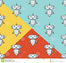 Alien Chart Cute Robot Sameless Pattern Stock Vector Illustration Of