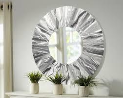 mirror wall decor circle panel: silver contemporary circle metal wall mirror modern metal home decor round abstract hanging wall art mirror  by jon allen