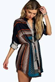 Teal Paisley Print Shirt Dress Https