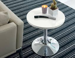 to enlarge contemporary high gloss white and chrome round side table