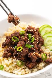 25 of our favorite ground beef recipes are just a click away. Easy Keto Korean Ground Beef Bowl Recipe Wholesome Yum