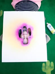 make an outdoor rug with a stencil and spray paint