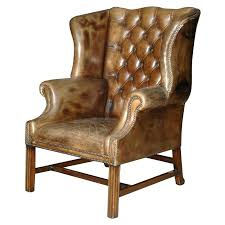 leather wingback armchair wing back chairs tufted chair antique brown
