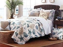 Queen Coverlets Quilts Comforters Bedspreads Quilts Tropical ... & Queen Coverlets Quilts Comforters Bedspreads Quilts Tropical Seashell Aqua  Blue 3 Piece Full Queen Size Quilt Adamdwight.com