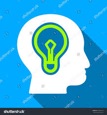 vector square blue icon lighting bulb. Head Idea Bulb Long Shadow Vector Icon. Style Is A Flat Light Symbol With Rounded Square Blue Icon Lighting