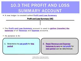 What Is Profit Loss 10 3 The Profit And Loss Summary Account