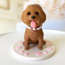 Custom Red Toy Poodle Cake Topper Dog Wedding Cake Topper Cute