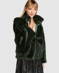 armani collezioni women s green fur coat