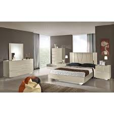 Overstock Bedroom Furniture Sets Modrest Luxor Modern Beige Lacquer Italian Bedroom Set Shopping