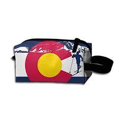 cross country skiing colorado mounn flag portable make up receive bag hand cosmetic bag makeup