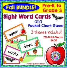 Bundle Pack Pre K Gr 3 Fall Dolch Sight Word Cards Pocket Chart Game