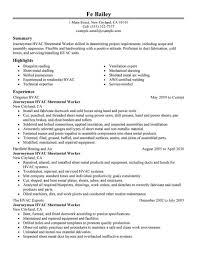 Hvac Resume Templates Apprentice Remarkable Summary Technician