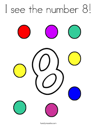 Small Picture I see the number 8 Coloring Page Twisty Noodle