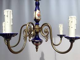limoges style 6 arm brass chandelier