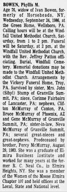 Obituary: Phyllis M McMurray - Newspapers.com