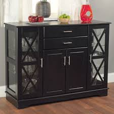 buffet with glass doors. Black Wood Buffet Dining-room Sideboard With Glass Doors S