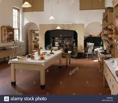 Victorian Kitchen Floor Large Victorian Kitchen With Central Table And Terracotta Tiled