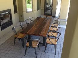 reclaimed wood and metal furniture. Furniture: Dark Wood Narrow Outdoor Dining Table With Metal Chairs Reclaimed And Furniture