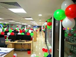 decoration of office. Decorate Your Office With Tri-color Balloons All Over The Walls And Pillar Decoration Of I