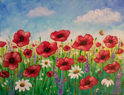 easy poppy field painting time lapse acrylic tutorial free lesson