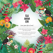 Vector Illustration Of Tropical Flowers In Summer With Birds