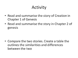 Genesis 1 And 2 Venn Diagram Judaeo Christian Ideas About God To Understand And Explain