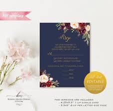 Vistaprint Wedding Seating Chart Printable Burgundy Floral Navy Blue Rsvp Card Editable Pdf