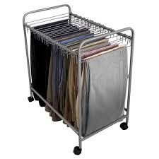 evelots 18 pair rolling trouser trolley removable pants hanger closet organizer com