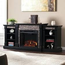 electric fireplace bookcases with shelves white blvd black faux stone conway
