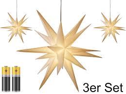 3er Pack 3d Leuchtstern Weihnachtsstern W Real