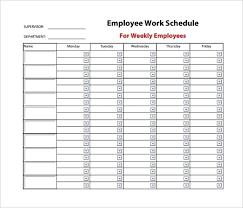 Free Work Schedule Template Planner Weekly Monthly 2017 Employee