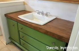 diy bathroom counter stained maple wood flooring diy glass tile bathroom countertop