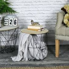 wire basket table black metal wire basket wooden top side table storage loft living home furniture