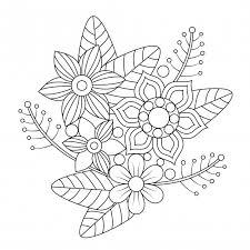 Mandala De Flora Y Hojas Para Colorear Para Adultos