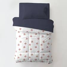 red and navy baseball toddler bedding