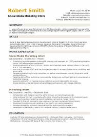It Internship Resume Samples Marketing Intern Resume Samples Qwikresume