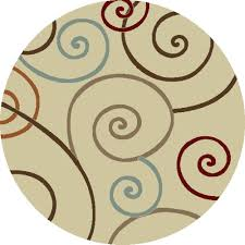 concord global trading chester scroll ivory 8 ft round area rug