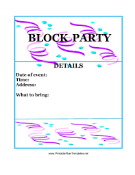 Block Party Flyers Templates Block Party Flyer Color