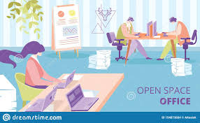 Office Banner Template Open Space Office Flat Vector Ad Banner Template Stock