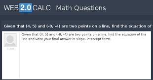 final answer in slope intercept