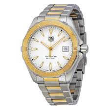 tag heuer aquaracer silver dial stainless steel 18kt yellow tag heuer aquaracer silver dial stainless steel 18kt yellow gold men s watch way1151