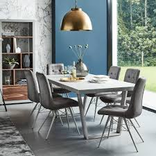 halmstad dining table and 6 hix chairs grey dining sets grey dining room table sets